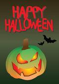 Evil Halloween Pumpkin with Bats — Stock Vector