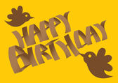 Vector Birthday card with birds.  — Stock Vector