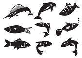 Vector Illustration of Different Fish — Stock Vector