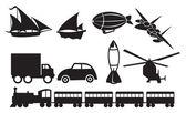 Black Transportation Icons Against White Background — Stock Vector