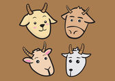 Cute Cartoon Goat Expressions Vector Illustration — Stock Vector