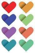 色の紙の心のベクトル図 — ストックベクタ