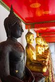 Black Buddha and Golden Buddha  — Stock Photo