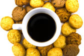Black coffee with cookie isolated — Stock Photo