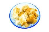 Toast in blue bowl — Foto de Stock