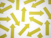 Many yellow arrows — Stock Photo