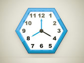 Blue hexagonal clock — Stock Photo