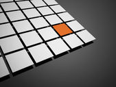 Abstract black and white cubes one is orange  — Stock Photo