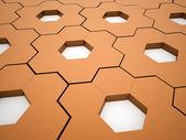 Orange hexagonal gears background — Stock Photo