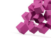 Pink cubes concept on white — Stock Photo