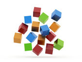 Many colored cubes rendered — Stock Photo