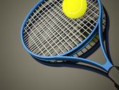 Blue tennis racket with ball — Foto Stock