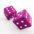 Two pink dice cubes isolated — Stock Photo #46327151