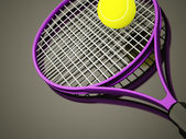 Purple tennis racket rendered — 图库照片