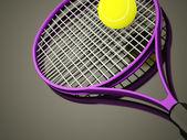 фиолетовый теннисную ракетку оказываемых — Стоковое фото