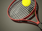 Red tennis racket rendered with ball — Stock Photo
