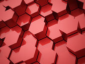 Red abstract hexagonal tubes background  — Stock Photo