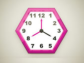 Pink hexagonal clock  — Stock Photo