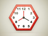 Red hexagonal clock — Stock Photo