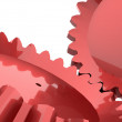 Two red gears concept isolated — Stock Photo
