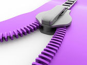 Purple zip rendered — Stock Photo