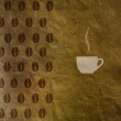 Cup of coffee and coffee beans pattern on crumpled paper texture, vintage — Stock Photo #45903853
