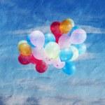 Постер, плакат: Balloons in sky