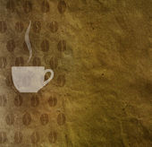 Cup of coffee and coffee beans pattern on crumpled paper texture, vintage — Stock Photo