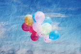 Balloons in the sky, vintage, texture crumpled paper, vintage — Stock Photo