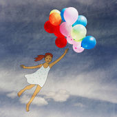 Girl with balloons flying through the sky — Stock Photo