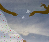 Hands couple in love, hands of children against the sky with a cloud, vintage — Стоковое фото