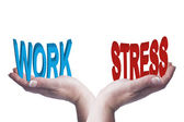 Female hands balancing work and stress 3D words conceptual image — Stock Photo