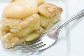 Close up of apple pie and custard — Stock Photo
