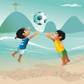 Brazilian kids are playing beach soccer — Stock Vector