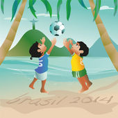 Girl and a boy jumping for a ball at the beach — Stock Vector