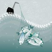 Big fishing — Stock Vector