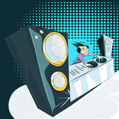 Dj in clab — Vector de stock