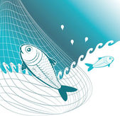 Fishes in the net — Stock Vector