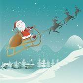 Santa claus flying with reindeer sleigh — Stock Vector