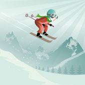 Salto con esquís — Vector de stock