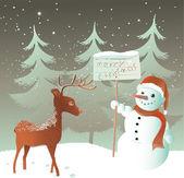 Snowman with reindeer — Stock Vector