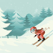 Downhill skiing — Stock Vector