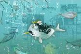 Fish with cigarette — Stock Photo