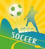 サッカー選手と背景 — ストックベクタ