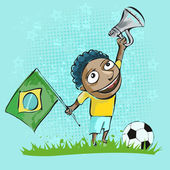 Brazilian soccer fan — Stock Vector