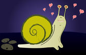 Loving pretty snail on a dark background — ストックベクタ