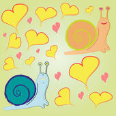 Pattern snail and hearts — ストックベクタ