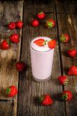 Strawberry milkshake with strawberry — Stock Photo