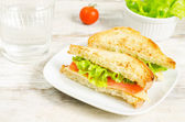 Panini sandwiches with salmon, cheese and salad — Stock Photo