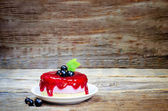 Souffle cake with black currant — Stock Photo